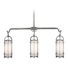Modern Island Light with White Glass in Polished Nickel Finish