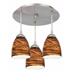 3-Light Semi-Flush Ceiling Light with Brown Art Glass - Nickel Finish