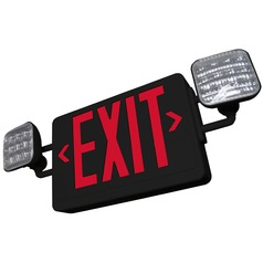 LED Exit Sign & Emergency Light - Black Finish