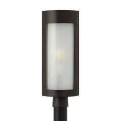 Modern Post Light with White Glass in Bronze Finish