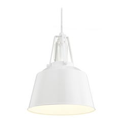 Feiss Lighting Freemont Hi Gloss White Mini-Pendant Light with Bowl / Dome Shade