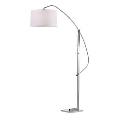 Modern LED Arc Lamp with White Shades in Polished Nickel Finish