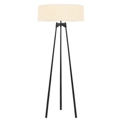 Sonneman Lighting Torii Satin Black Floor Lamp with Drum Shade
