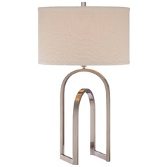 Minka Brushed Nickel Table Lamp with Drum Shade