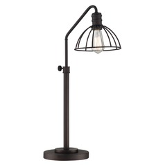 Lite Source Gaius Burnished Bronze Table Lamp with Bowl / Dome Shade