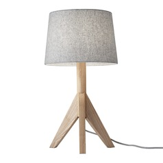 Mid-Century Modern Table Lamp Natural Ash Wood Eden by Adesso Home