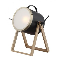 Lite Source Sully Wood Table Lamp with Drum Shade