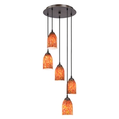 Design Classics Lighting Modern Multi-Light Pendant Light with Art Glass and 5-Lights 580-220 GL1012D