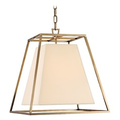 Kyle 4 Light Pendant Light Square Shade - Aged Brass
