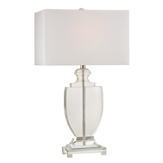 Table Lamp with White Shades in Clear Finish