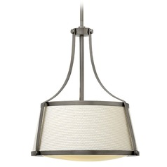 Hinkley Lighting Charlotte Antique Nickel Pendant Light with Conical Shade