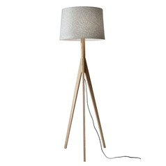 Mid-Century Modern Floor Lamp Natural Ash Wood Eden by Adesso Home