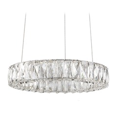 Crystal Chrome LED Pendant with Clear Shade 4000K 1200LM