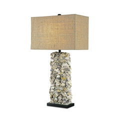 Table Lamp with Brown Tones Grasscloth Shade in Satin Black/natural Oyster Finish