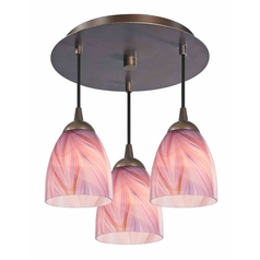 3-Light Semi-Flush Ceiling Light with Pink Art Glass - Bronze Finish