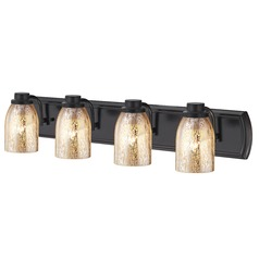 Industrial Mercury Glass 4-Light Bath Bar in Bronze