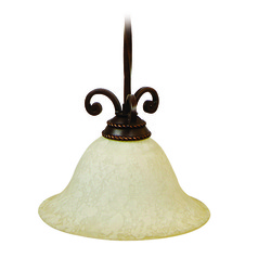 Jeremiah Riata Aged Bronze Textured Pendant Light with Bell Shade