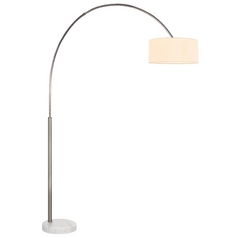 Sonneman Lighting Arc Satin Nickel Arc Lamp with Drum Shade