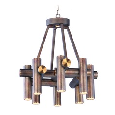 Mid-Century Modern LED Mini-Chandelier Bronze / Brass Tubular LED by Maxim Lighting
