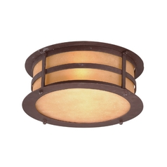 Close To Ceiling Light with Amber Glass in Natural Bronze Finish