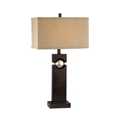 Modern Table Lamp With Beige Cream Shade In Western Bronze Finish