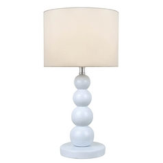 White Stacked Orb Table Lamp with Drum Shade