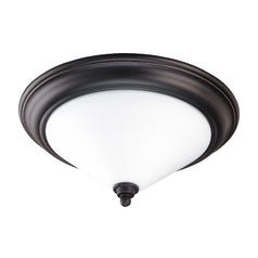 Flushmount Light with White Glass in Mission Dust Bronze Finish