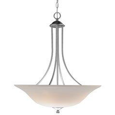 Inverted Bowl 32-Inch Pendant Light with 3-Lights in Nickel Finish