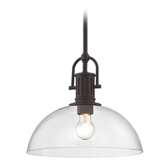 Industrial Bronze Pendant Light with Clear Glass 13-Inch Wide