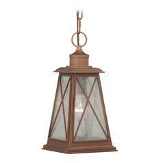 Seeded Glass Outdoor Hanging Light Red Copper Vaxcel Lighting