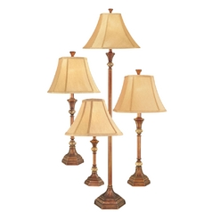 Traditional Floor and Table Lamp 4-Pack with Marble Accents