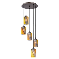 Modern Multi-Light Pendant Light with Art Glass and 5-Lights