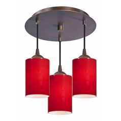 3-Light Semi-Flush Ceiling Lightt with Red Cylinder Glass - Bronze Finish