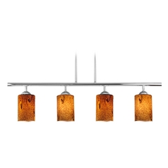 Modern Linear Pendant Light with 4-Lights and Brown Art Glass in Chrome Finish