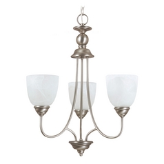Sea Gull Lighting 3-Light Mini Chandelier with Alabaster Glass in Antique Brushed Nickel