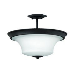 Semi-Flushmount Light with White Glass in Textured Black Finish