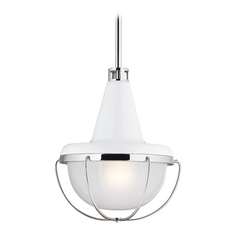 Feiss Lighting Livingston High Gloss White / Polished Nickel Mini-Pendant Light with Bowl / Dome Sha