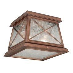 Seeded Glass Outdoor Ceiling Light Red Copper Vaxcel Lighting