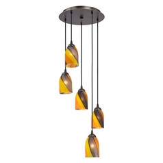 Design Classics Lighting Modern Multi-Light Pendant Light with Art Glass and 5-Lights 580-220 GL1015D