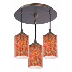 3-Light Semi-Flush Light with Art Glass - Bronze Finish