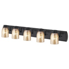 Industrial Mercury Glass 5-Light Bath Bar in Bronze