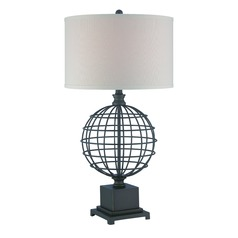 Lite Source Brenton Aged Black Table Lamp with Drum Shade