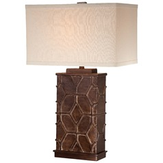 Minka Bronze & Dry Brush Gold Table Lamp with Rectangle Shade