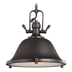 Sea Gull Lighting Stone Street Burnt Sienna Pendant Light with Bowl / Dome Shade