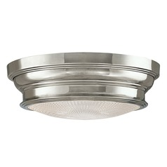 Flushmount Light with Clear Glass in Polished Nickel Finish