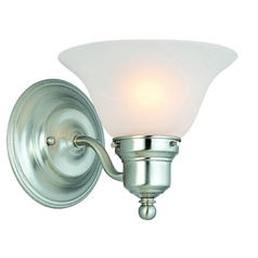 Dolan Designs Satin Nickel Sconce with White Glass Shade 214-09