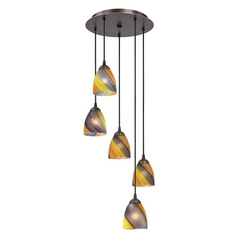Design Classics Lighting Modern Multi-Light Pendant Light with Art Glass and 5-Lights 580-220 GL1015MB