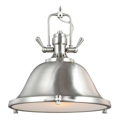 Farmhouse Pendant Light Brushed Nickel Stone Street by Sea Gull Lighting