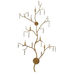 Currey and Company Forest Washed Lucerne Gold/natural Sconce