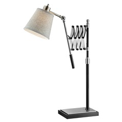 Lite Source Caprilla Brushed Nickel Black Swing Arm Lamp with Empire Shade